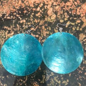Round mint earrings